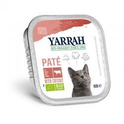 Pate para gatos con ternera y pollo tarrina bio 100g Yarrah - Imagen 1