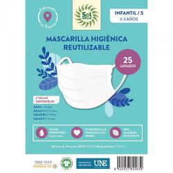 Mascarilla Algodon Organico Higienica reutilizable INFANTIL/S Sol Natural - Imagen 1