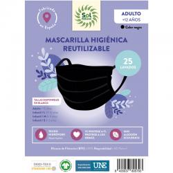 Mascarilla Algodon Organico Higienica reutilizable NEGRA ALDULTO Sol Natural - Imagen 1