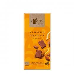 Chocolate vegano naranja almendra Bio 80g Ichoc - Imagen 1