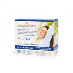 Compresa de tela con alas lavable Noche Bio Masmi - Imagen 1