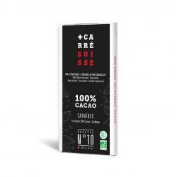 Tableta chocolate negro 100% Caribe Bio 80g Carre Suisse - Imagen 1